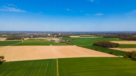 Agricultural fields, countryside. A shot from above. Farmers field.