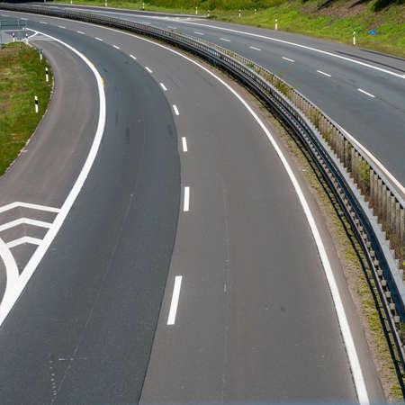 Highway trip in Europe. Asphalt road