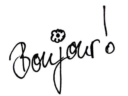 handwriting: bonjour