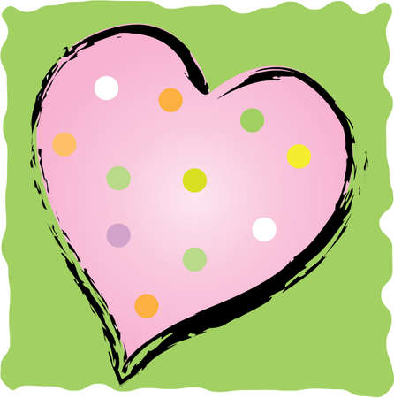 brush stroke: Fun polkadot heart with brush stroke outline Illustration