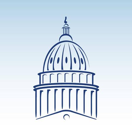 Ilustración de domo del Capitolio de los Estados Unidos  Ilustración de vector