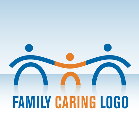 happy family isolated: Family Caring Logo