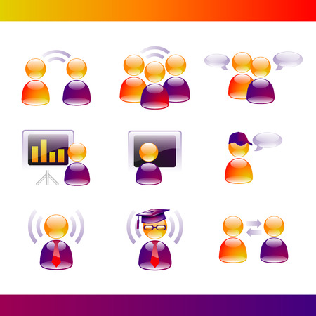 Glossy People Communication Icons Illustration