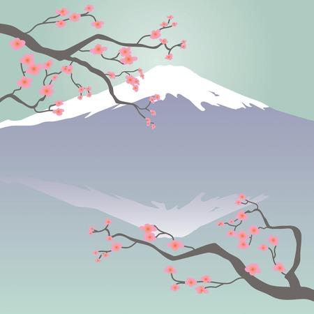 Mt Fuji and Cherry Blossoms Illustration