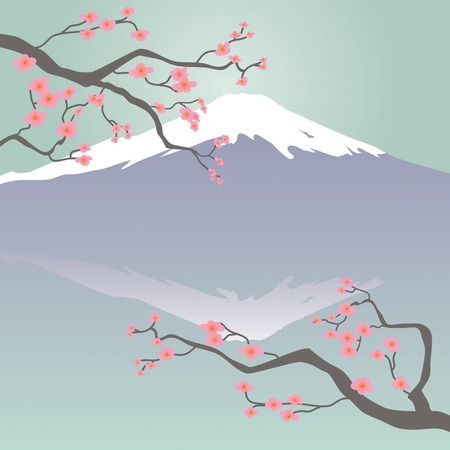 Mt Fuji and Cherry Blossoms Illustration