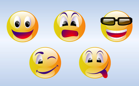Smiley Face Emoticons Vettoriali