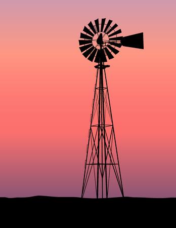 Wind molen Silhouette Sunset  Vector Illustratie