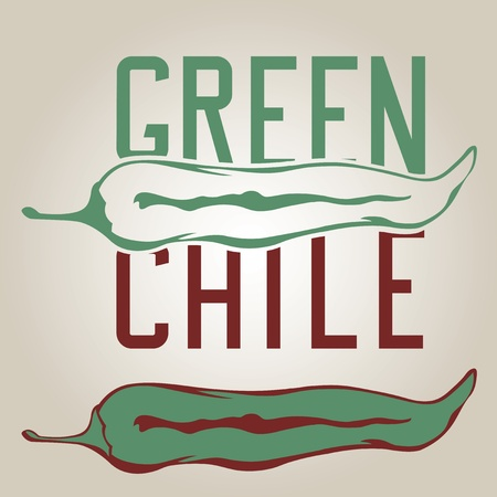 Stylized green chile pepper with drawn letters