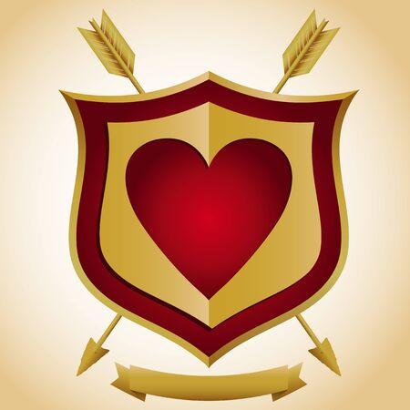Heart Shield with Arrows
