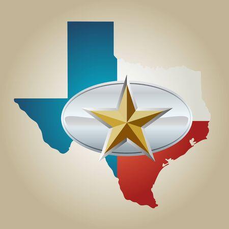 Bandera de Texas y la forma de Estado con la estrella de la hebilla del cinturón Ilustración de vector