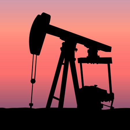 Oil Pumpjack at Sunset Illustration