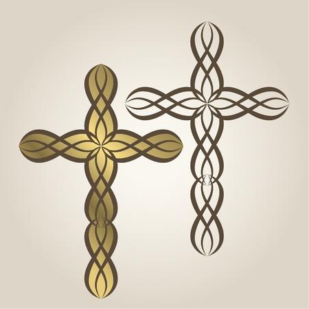 装飾的なキリスト教十字架します。  イラスト・ベクター素材