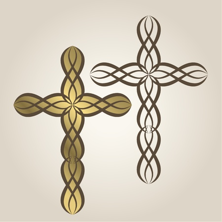 theology: Ornamental Christian Crosses Illustration