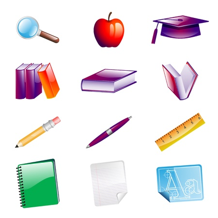 School Objects Icons Ilustracja