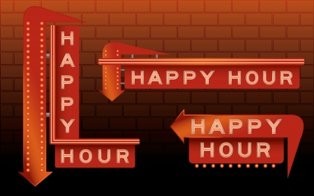 Happy hour bar signs with neon and lights Illustration