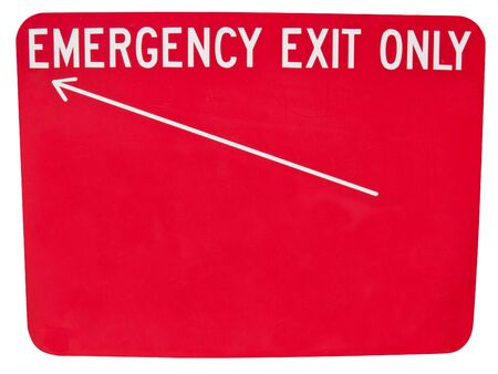 Generic Emergency only sign with an arrow.