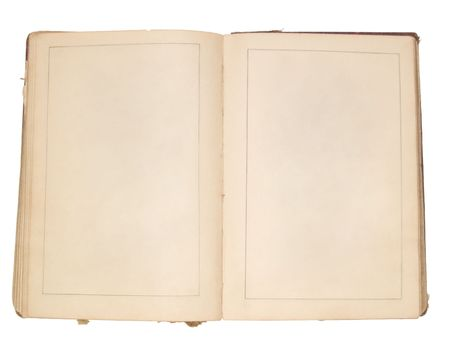 Old book opened to a pair of blank pages. Useful for a presentation.