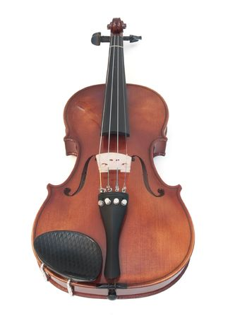 Violin isolated on white. Its a fairly old instrument.