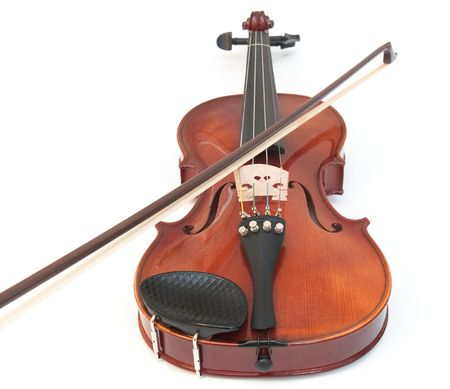 Violin and a bow, isolated on a white background.