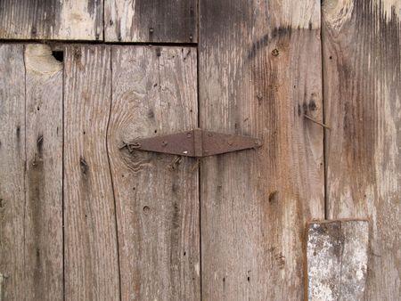 Old rusted hinge on very old wood. Nice grunge texture.