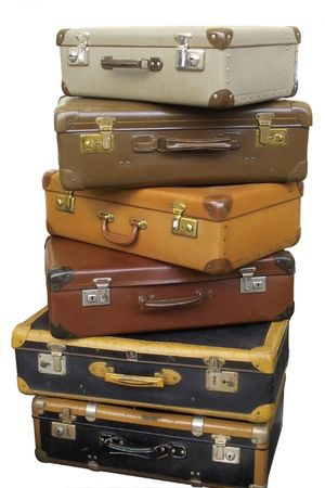 clasps: Pile of old suitcases Stock Photo