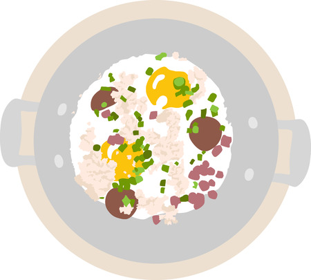 Vietnamese egg pan with minced pork, diced ham, and Chinese sausage