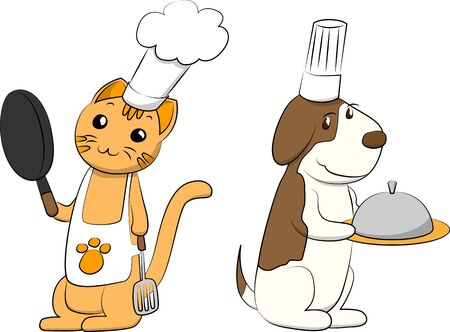 Cat & Dog Cook Illustration