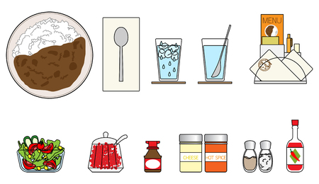 curry: Curry House Items Illustration