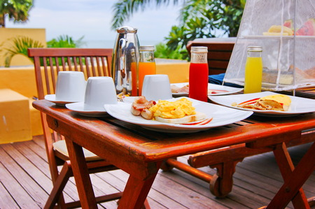 on the table: Breakfast table