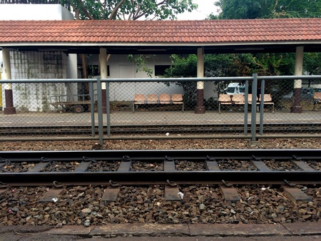 Railroad station at Samsen, Bangkok Stock Photo