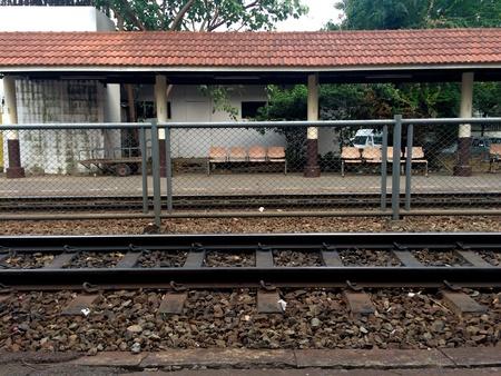 fench: Railroad station at Samsen, Bangkok Stock Photo