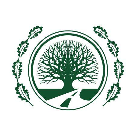 eco green oak tree vector design Illustration