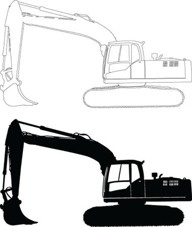 экскаватор: отслеживается 4 - вектор Иллюстрация