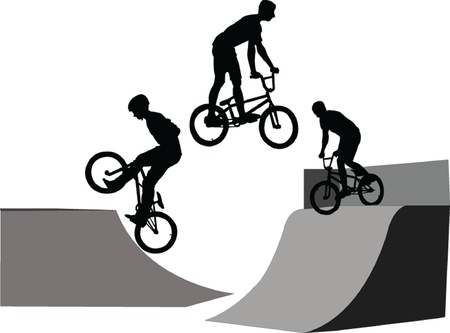 bicyclist: extreme bicyclist - vector