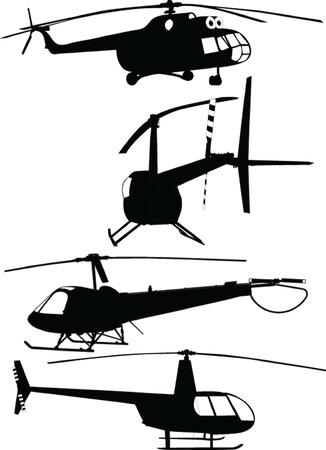 헬기 컬렉션 - 벡터 일러스트