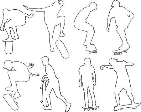 skateboard park: skateborders con el esquema-vector Vectores