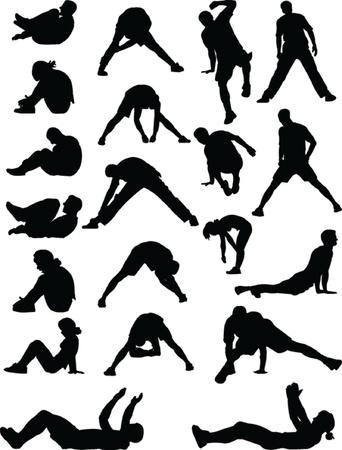 abdominal fitness: los jóvenes que ejercen - vector