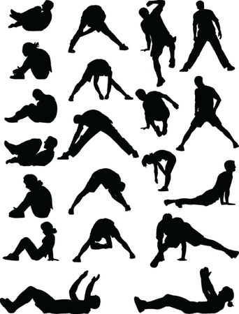 young people exercising - vector Stock Vector - 20038573