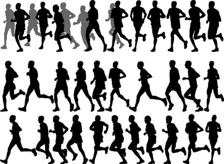 winner man: illustration of running people