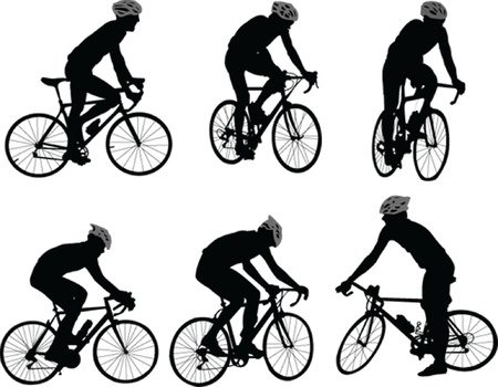 cycle suit: bicyclists silhouette - vector Illustration