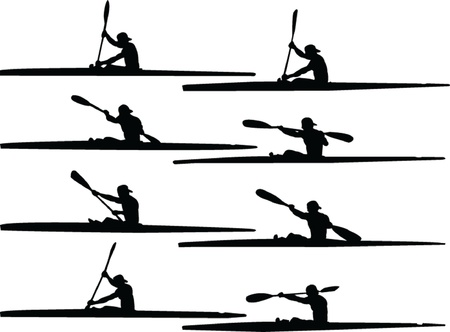 rowing boat: rowing collection - vector Illustration
