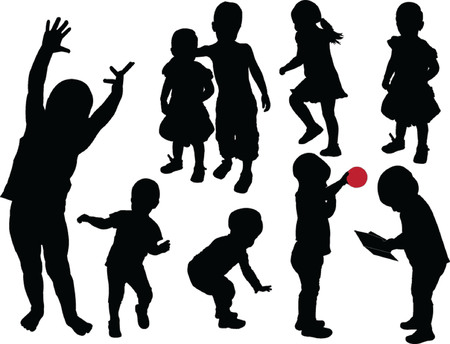 reaching hand: children collection - vector Illustration