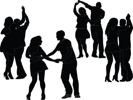 bailarines silueta: colección bailarines - vector