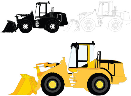 tow tractor: construction machines - vector Illustration