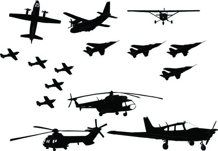 arrive: aircraft collection - vector Illustration