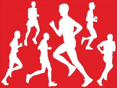 gratis: marathon collection with background- vector