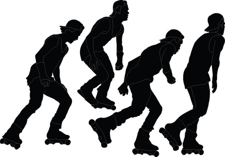 roller skaters collection - vector Illustration