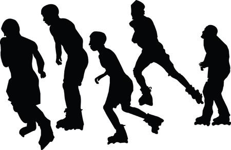 rollerblade: roller skaters collection - vector Illustration