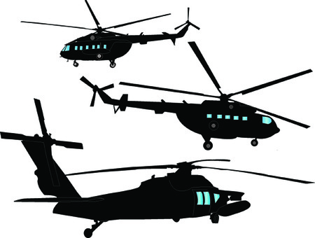 helicopters collection - vector Vektorové ilustrace