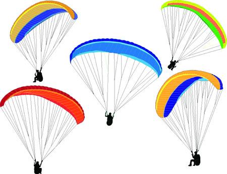 paragliding collection - vector Vectores